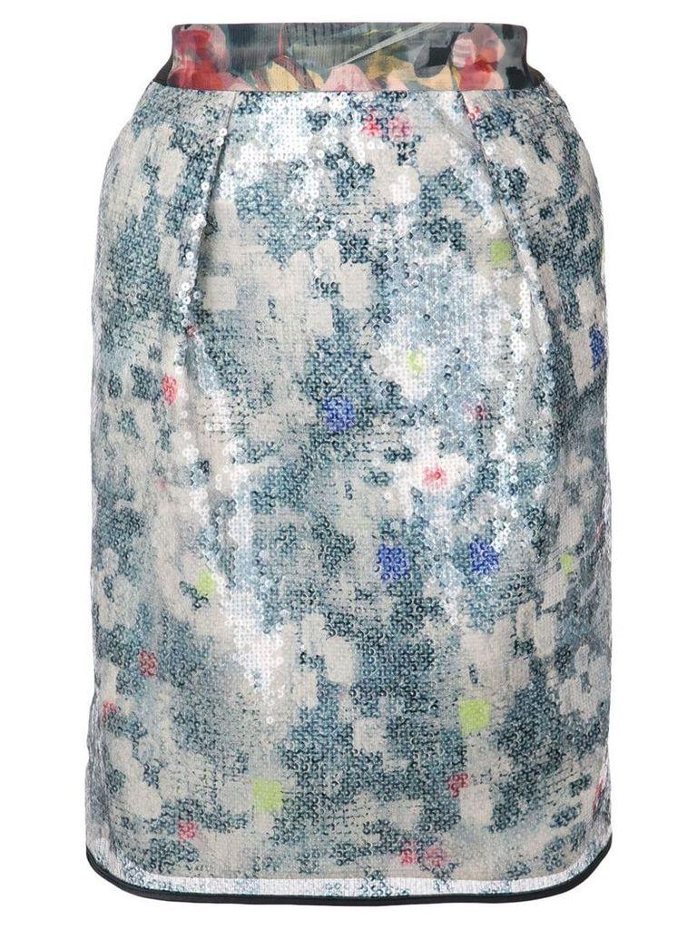 Harvey Faircloth floral sequin skirt - Blue
