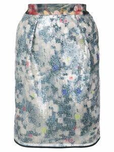 Harvey Faircloth floral sequin skirt - Blue