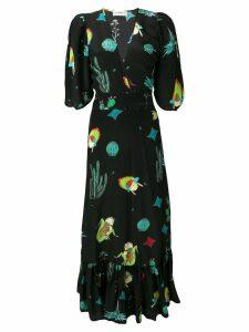 Jessie Western long wrap dress - Black
