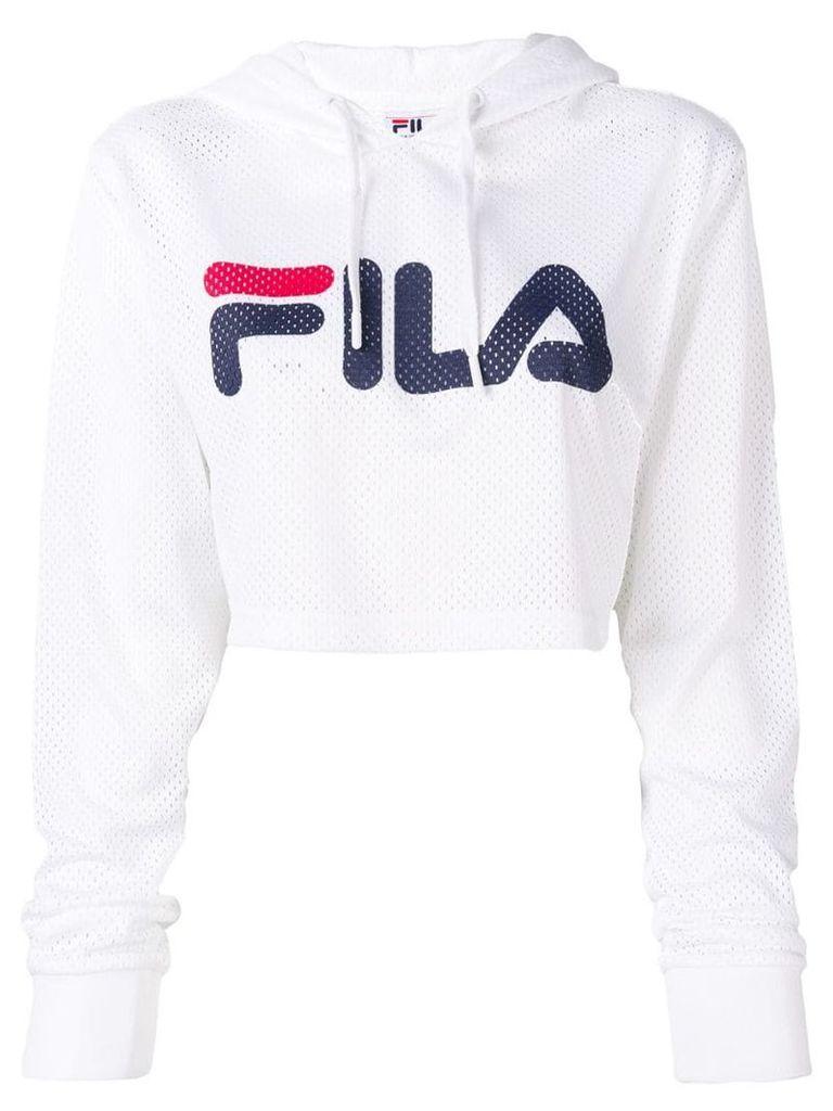 Fila perforated logo hoodie - White