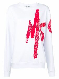 MSGM logo painted sweatshirt - White