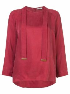 Tibi strap detail blouse - Red