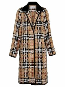 Burberry Check Basketweave Ribbon Coat - NEUTRALS