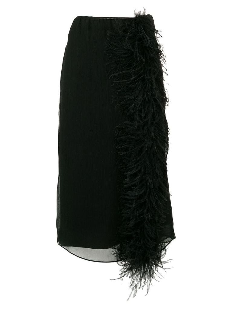Prada ostrich feather detail skirt - Black
