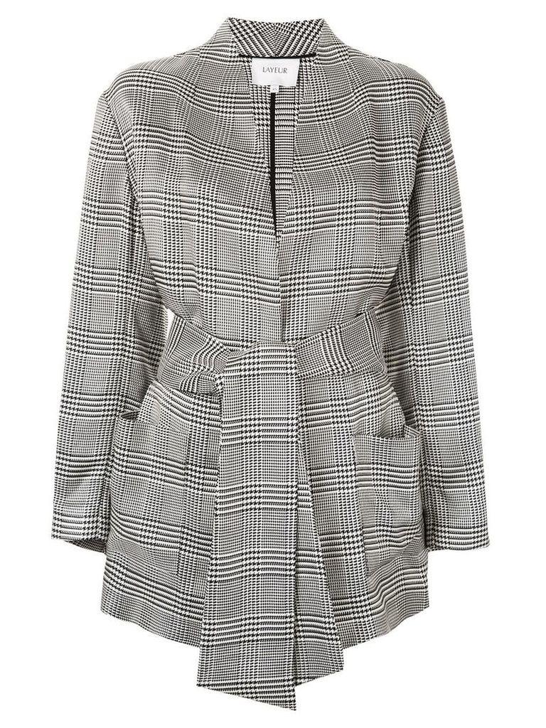 Layeur belted waist blazer - Grey