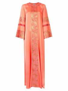 Layeur jacquard embelished flared dress - ORANGE