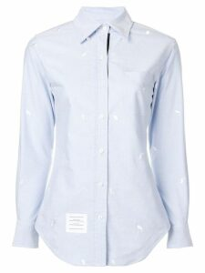 Thom Browne Whale Embroidery Oxford Shirt - Blue