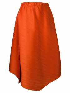 Pleats Please By Issey Miyake micro-pleated asymmetric skirt - Orange