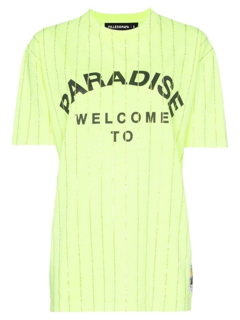 Filles A Papa Paradise crystal embellished cotton T-shirt - Yellow