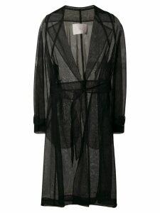Tela sheer belted trench coat - Black