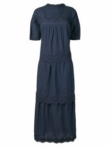 Local embroidered trim dress - Blue