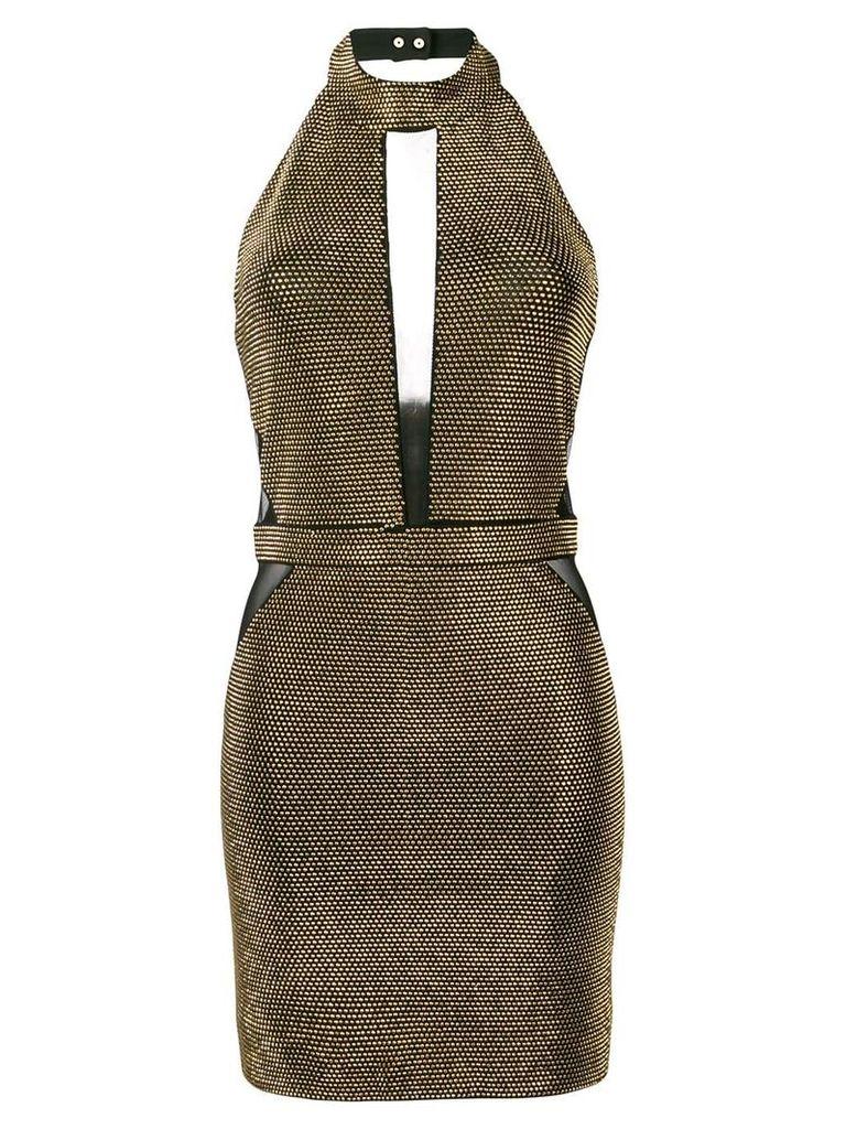 Balmain fitted halterneck dress - Black
