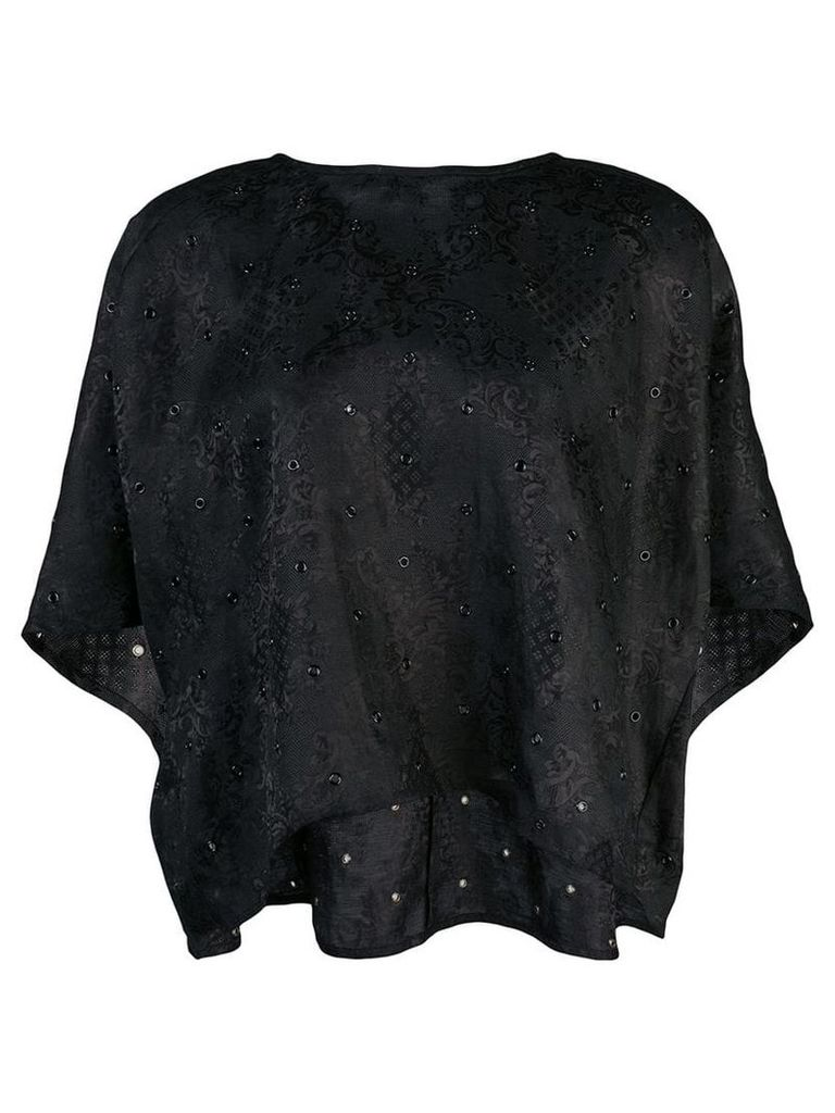 Derek Lam Short Sleeve Floral Gazar Eyelet Embroidered Top - Black