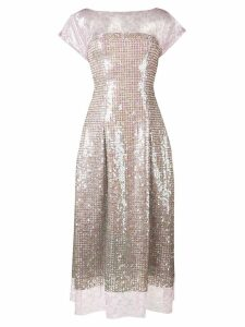 Talbot Runhof lace and sequin midi dress - PURPLE