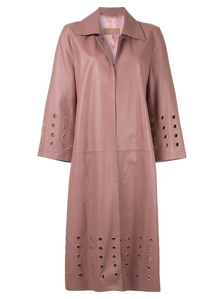 Ecaille eyelet detail leather coat - Pink