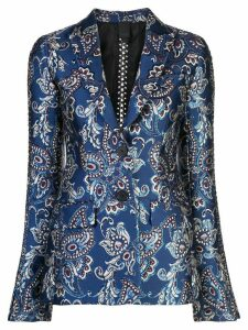 Vera Wang chain embroidered blazer - Blue