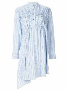 Cédric Charlier asymmetric striped shirt dress - Blue