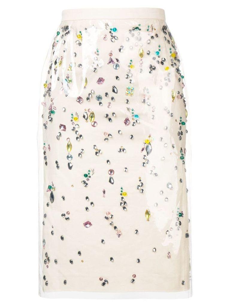 Nº21 rhinestone-embellished skirt - Neutrals