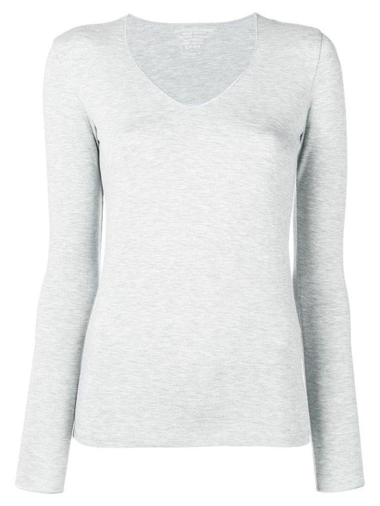 Majestic Filatures silver v-neck T-shirt - Grey