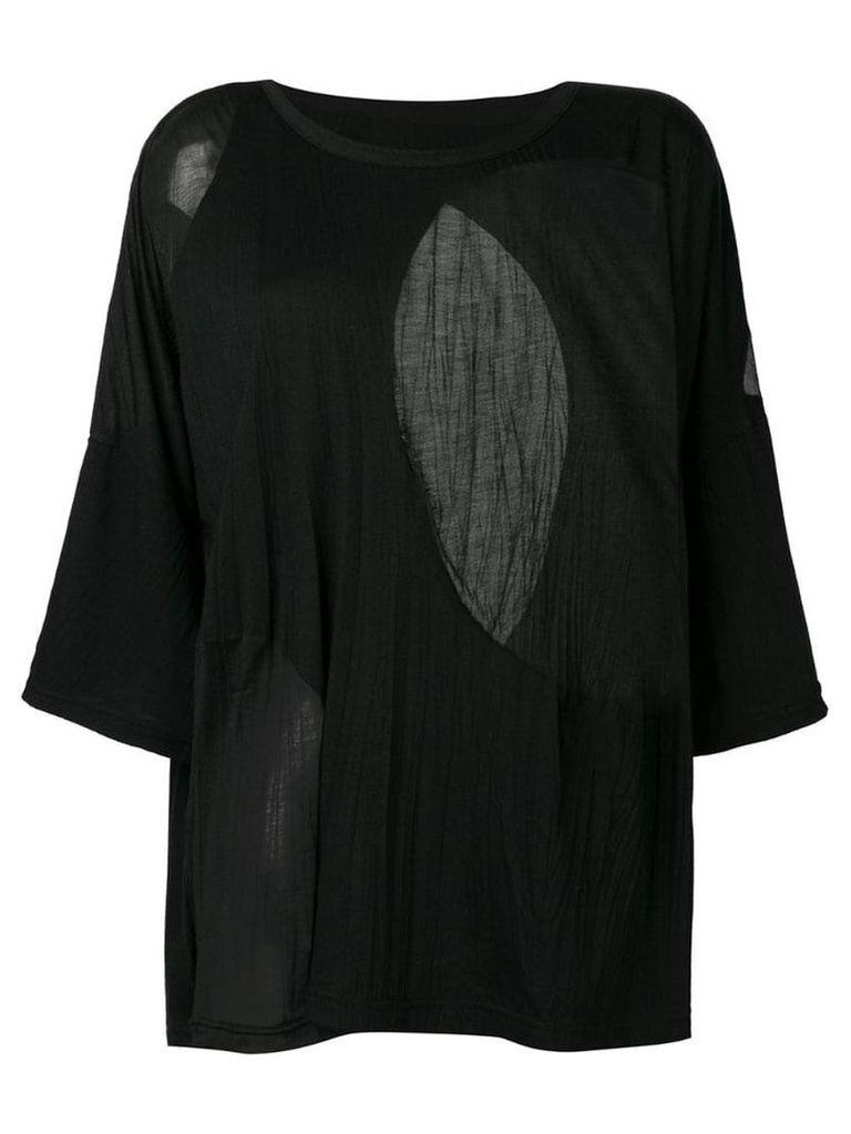 Y's sheer panels T-shirt - Black