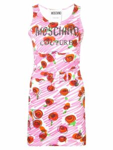 Moschino rose-print belted dress - Pink