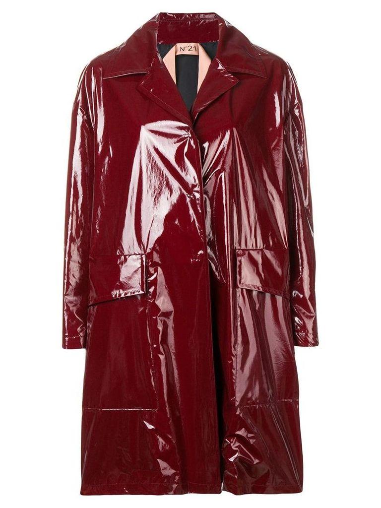 Nº21 patent finish midi coat - Red