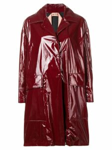 Nº21 patent finish midi coat - Red