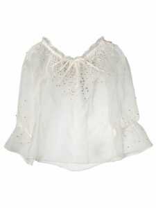 L'Autre Chose crystal daisy embellished organza blouse - White