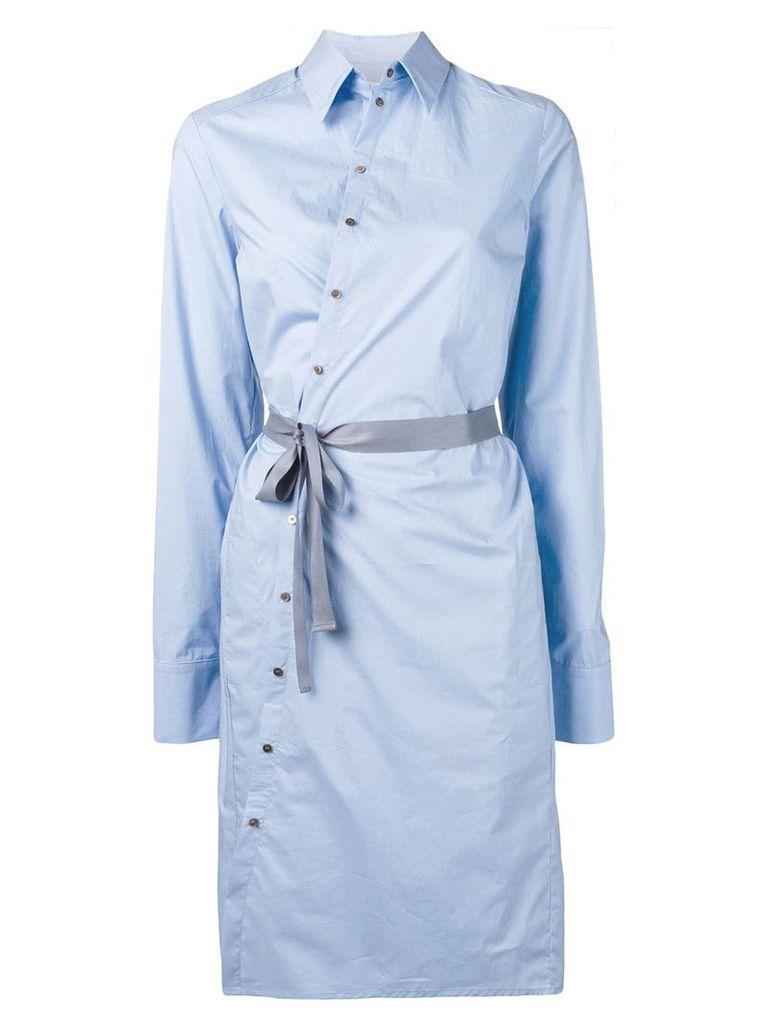 A.F.Vandevorst tie waist shirt dress - Blue