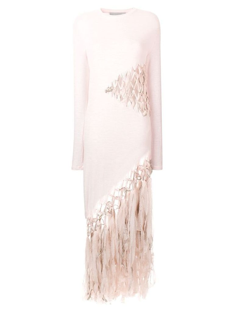 Esteban Cortazar fringe embroidered dress - Pink