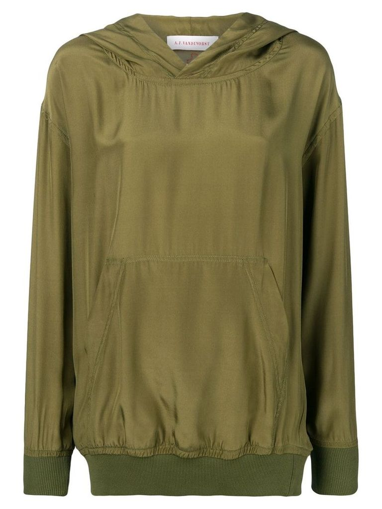 A.F.Vandevorst hooded silk top - Green