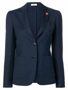 Lardini floral lapel pin blazer - Blue