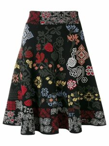 Alexander McQueen patterned A-line skirt - Black