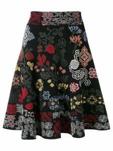 Alexander McQueen patterned A-line skirt - Black