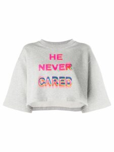 Marcelo Burlon County Of Milan He Never Cared cropped T-shirt - Grey