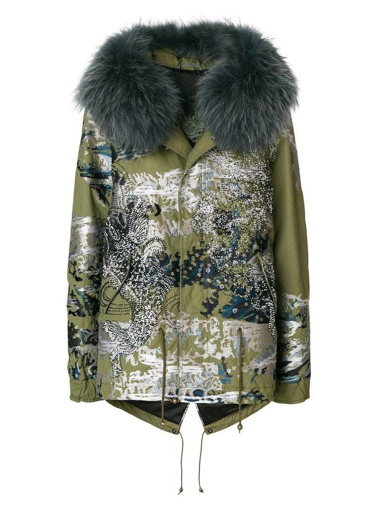 Mr & Mrs Italy embellished print parka coat - Multicolour