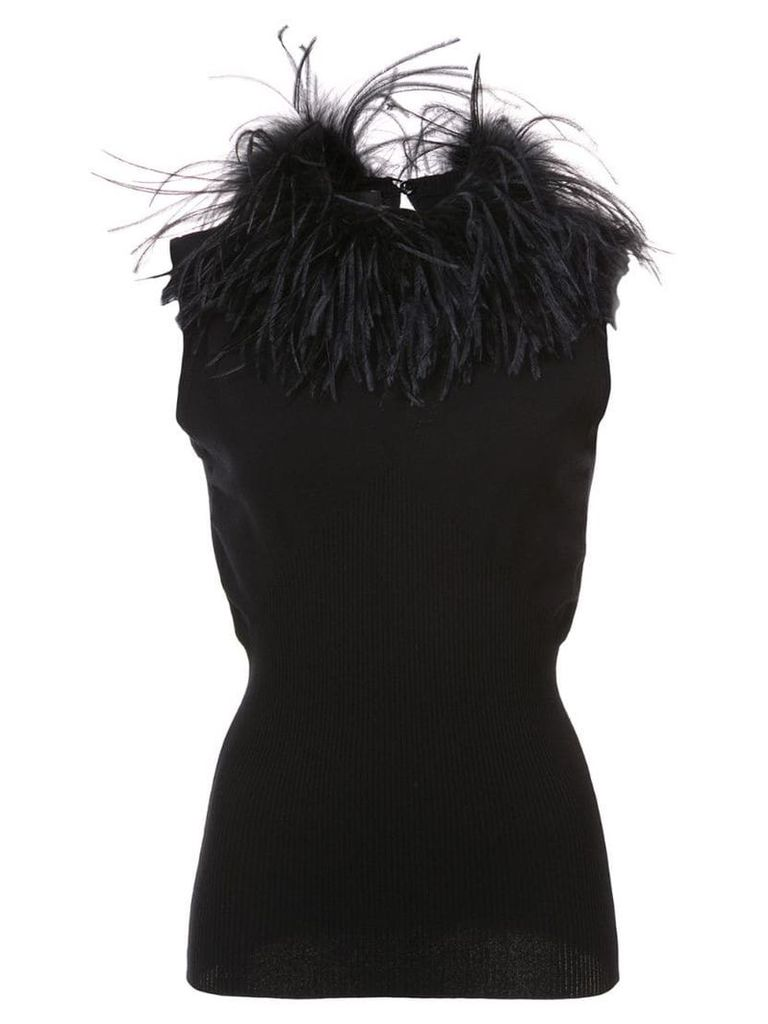 Boutique Moschino feather trim top - Black
