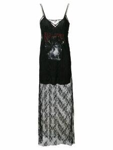 McQ Alexander McQueen graphic print lace slip dress - Black