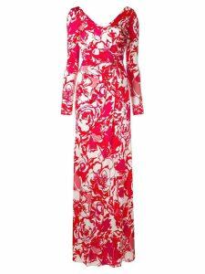 Roberto Cavalli floral sketch dress - Red