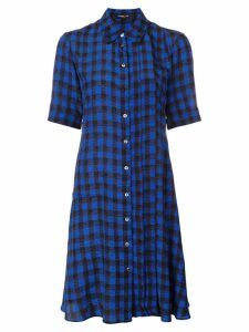 Derek Lam Short Sleeve Plaid Print A-Line Shirt Dress - Blue
