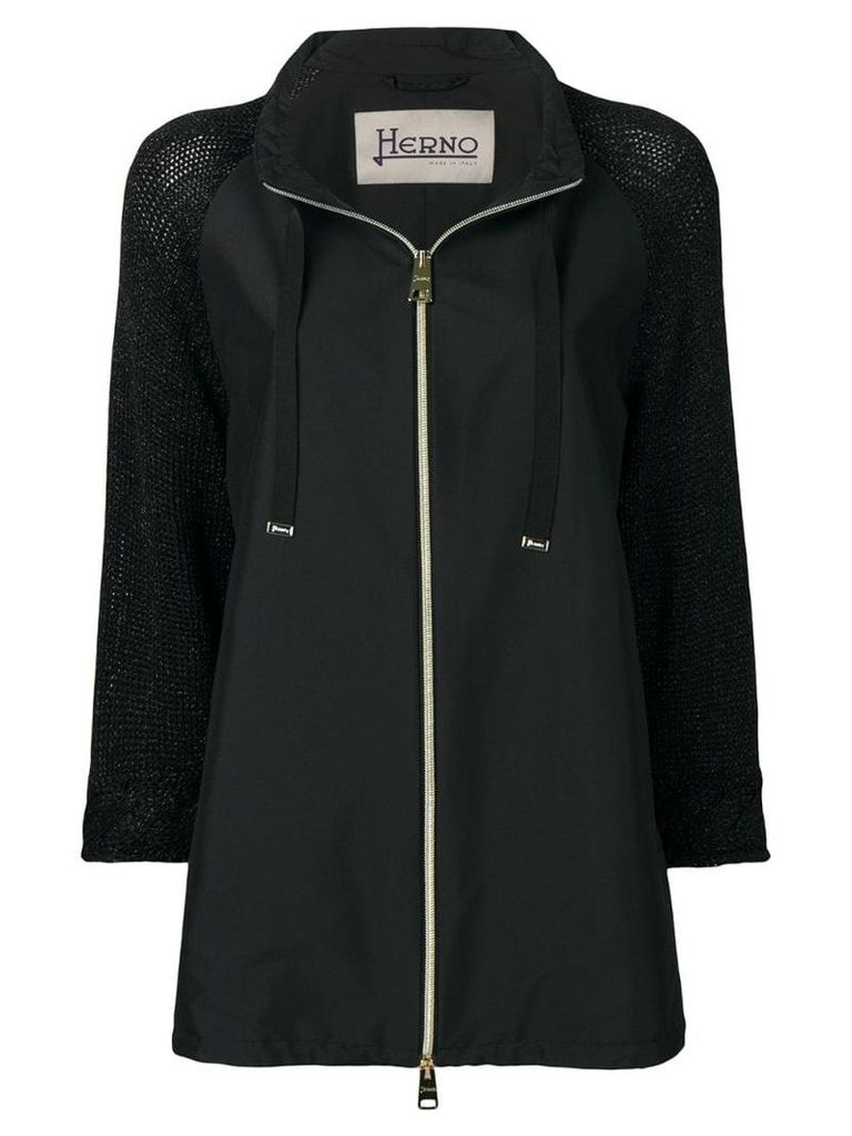 Herno knitted sleeves parka - Black
