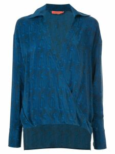 Manning Cartell printed plunge blouse - Blue