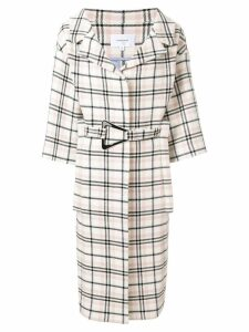 Carven belted check coat - White