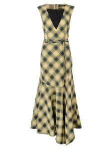 Derek Lam V-Neck Gauze Plaid Dress with Asymmetric Hem - Yellow