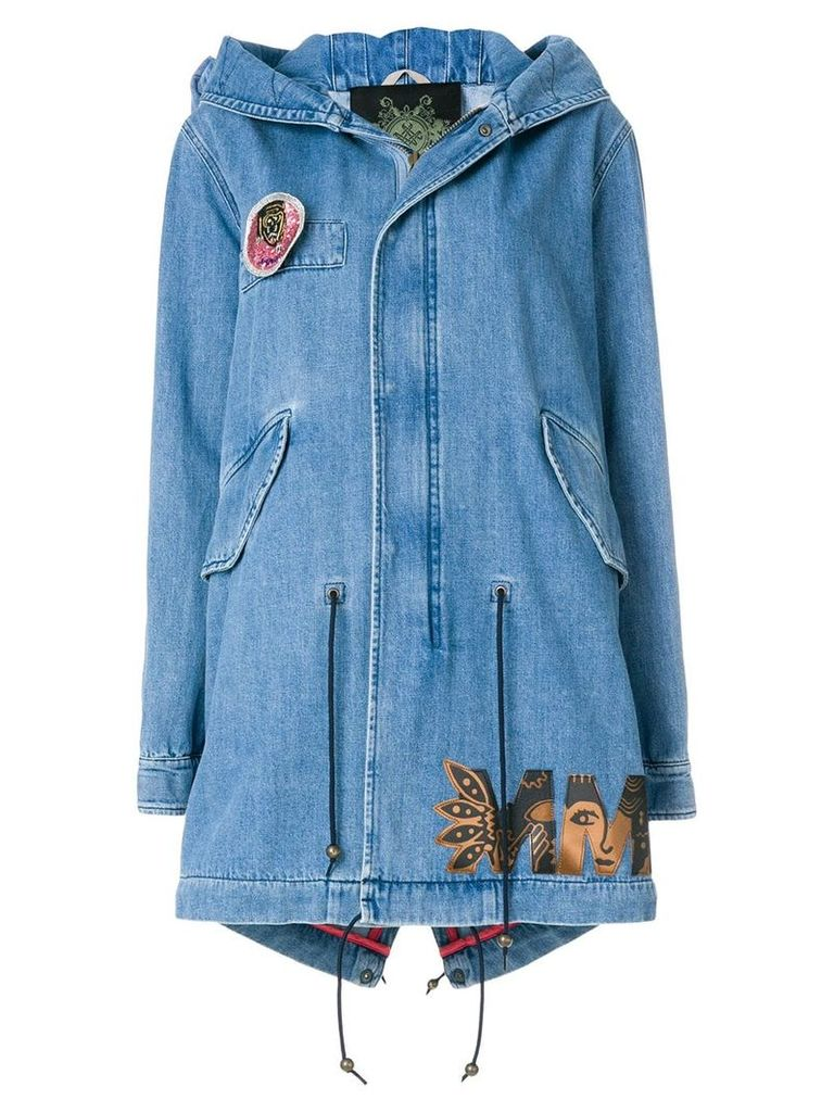 Mr & Mrs Italy denim midi parka coat - Blue