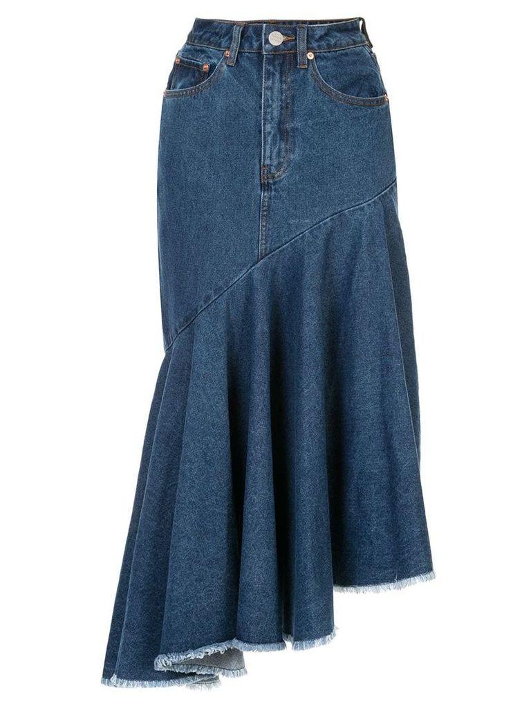 Solace London denim asymmetric hem skirt - Blue
