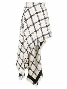 Monse checked asymmetric hem skirt - White