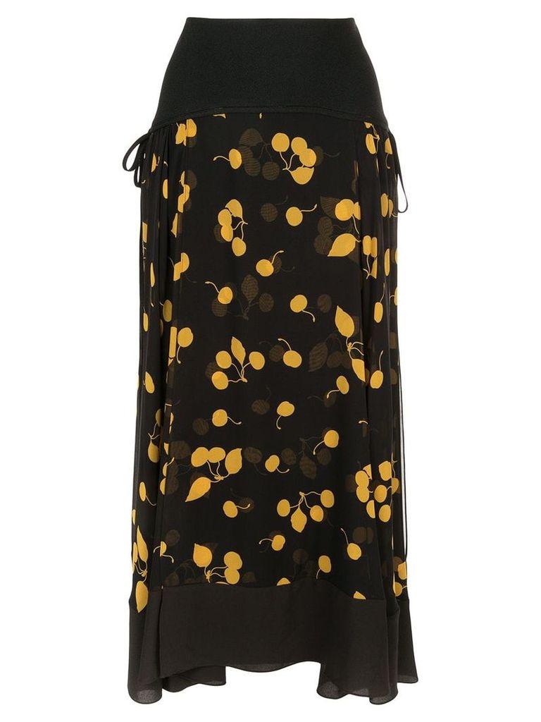 3.1 Phillip Lim asymmetric floral skirt - Black