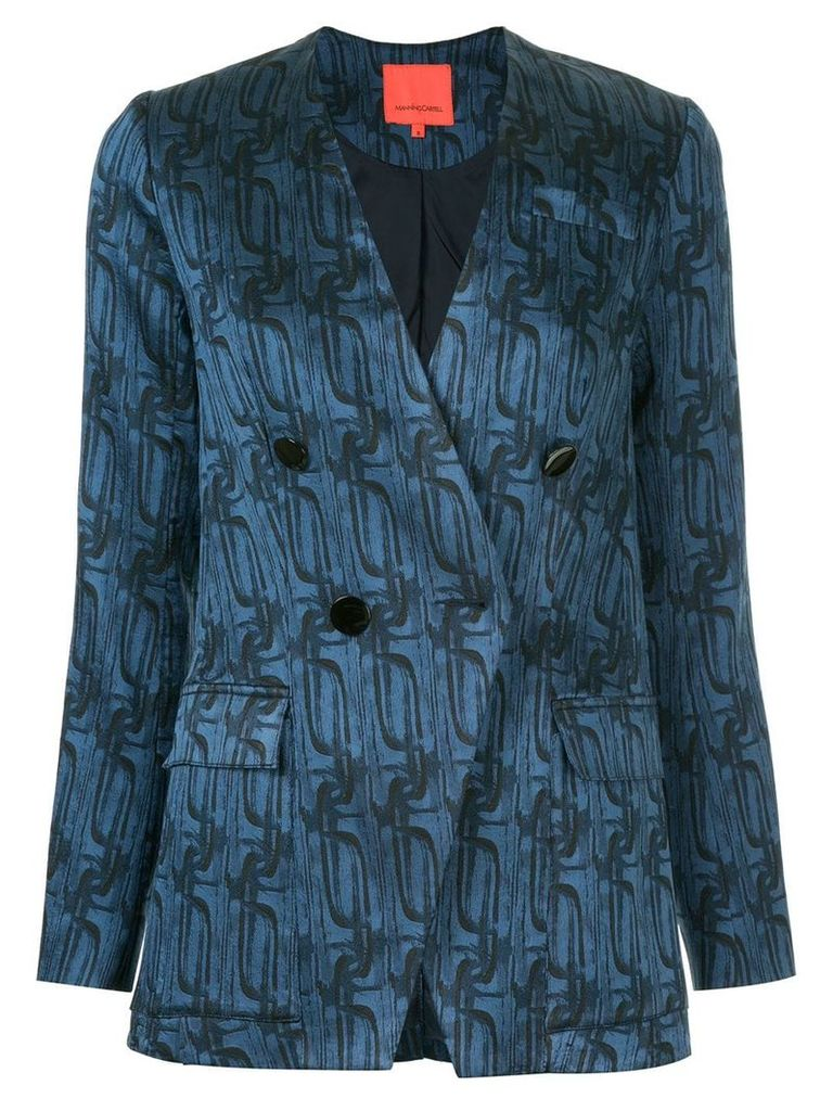 Manning Cartell printed double breasted blazer a - Blue