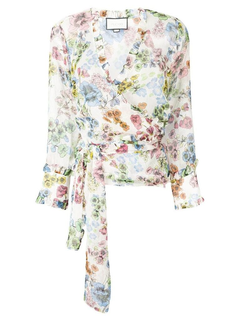 Alexis floral print wrap blouse - White